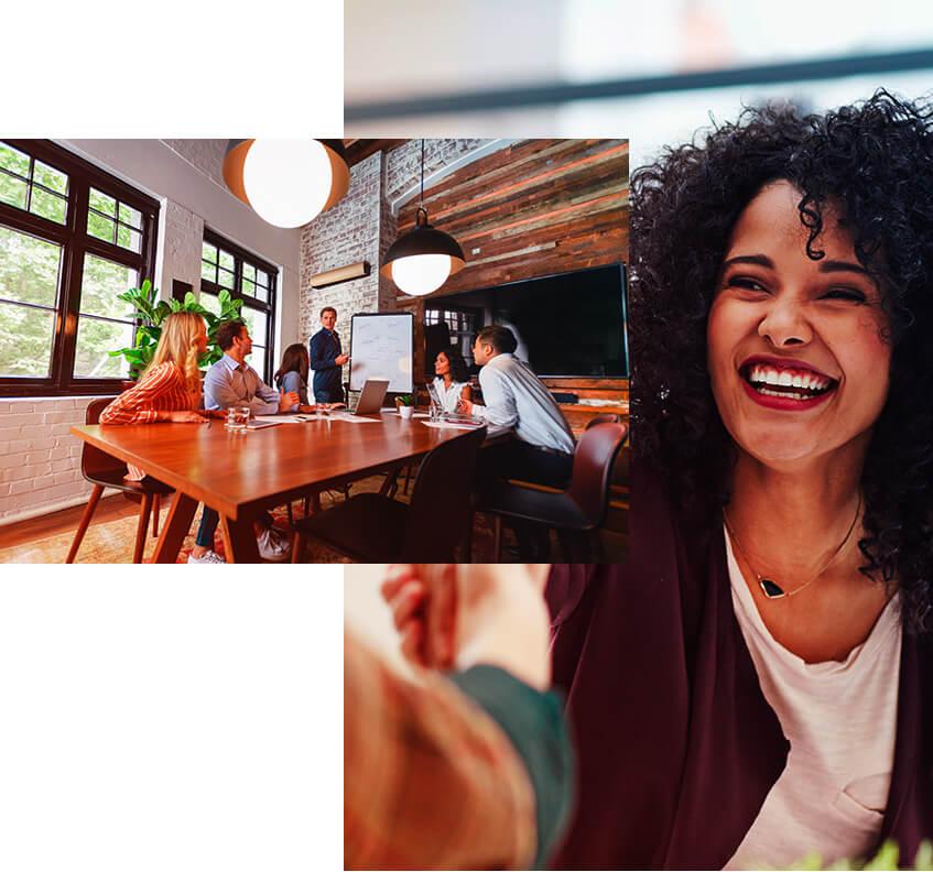 Imagem de pessoas sentadas, felizes e se cumprimentando