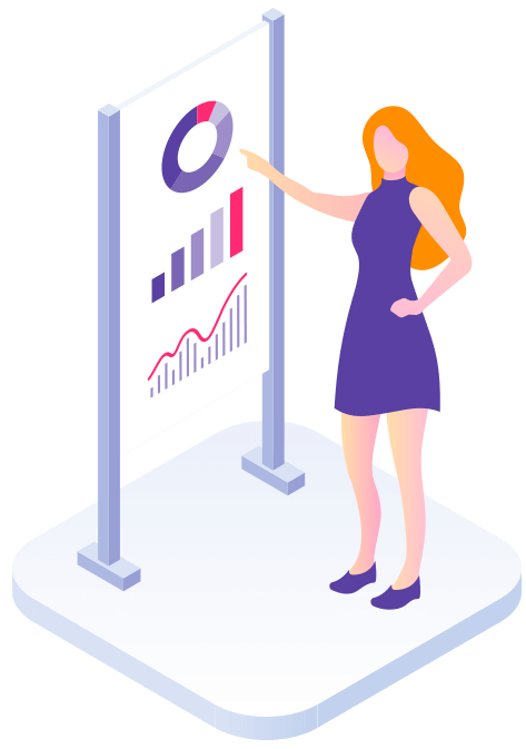 Ilustração de uma mulher apontando para um painel com gráficos desenhado.