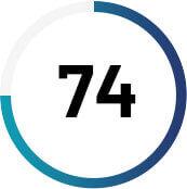 Gráfico circular com o número 74 no centro