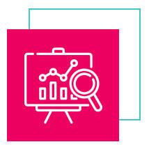 Ícone de um gráfico com bordas brancas dentro de um quadrado na cor rosa