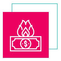 Ícone de uma nota de dinheiro pegando fogo com bordas brancas dentro de um quadrado na cor rosa