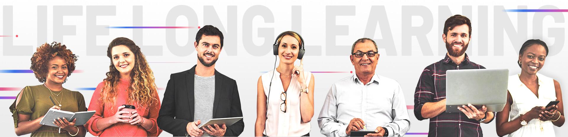 Imagem com texto 'Life Long Learning' e diversas pessoas (desktop)