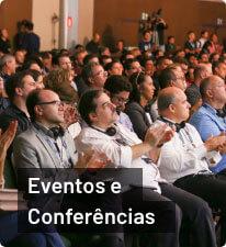 Pessoas na plateia de evento da StartSe; texto 'Eventos e Conferências' abaixo