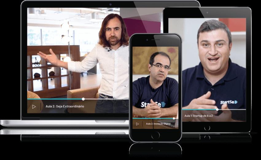 MacBook ao lado esquerdo com Mauricio Benvenutti na tela; iPad ao lado direito com Junior Borneli na tela; iPhone ao centro e na frente com Cristiano Kruel na tela