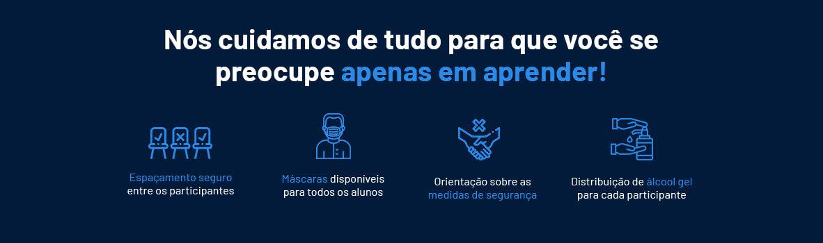 Texto 'Nós cuidamos de tudo para que você se preocupe apenas em aprender'; fundo azul; ícones abaixo