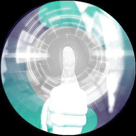 Um circulo com a imagem de um polegar, com sua digital ampliada.
