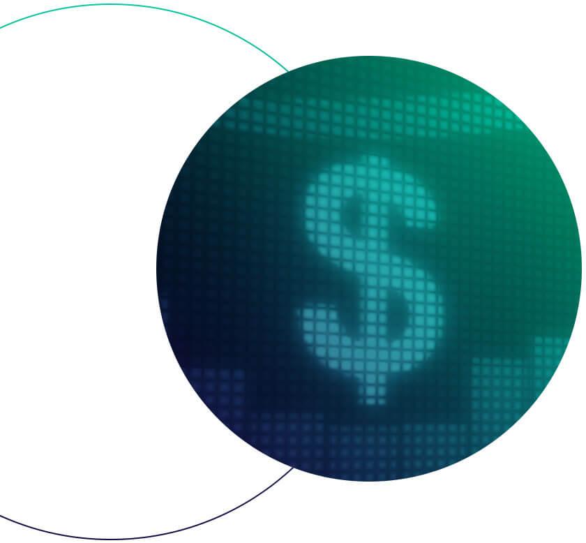 Um circulo em degradê azul e verde com a imagem de um cifrão